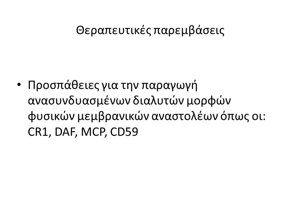 • Προσπάθειες για την παραγωγή ανασυνδυασμένων διαλυτών μορφών φυσικών μεμβρανικών αναστολέων όπως οι: CR1, DAF, MCP, CD59