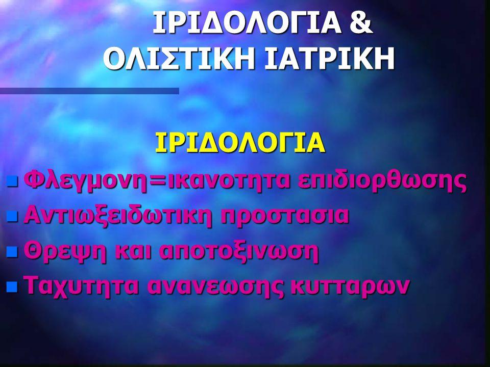 ΙΡΙΔΟΛΟΓΙΑ & ΟΛΙΣΤΙΚΗ ΙΑΤΡΙΚΗ ΙΡΙΔΟΛΟΓΙΑ & ΟΛΙΣΤΙΚΗ ΙΑΤΡΙΚΗ ΙΡΙΔΟΛΟΓΙΑ ΙΡΙΔΟΛΟΓΙΑ n Φλεγμονη=ικανοτητα επιδιορθωσης n Αντιωξειδωτικη προστασια n Θρεψη