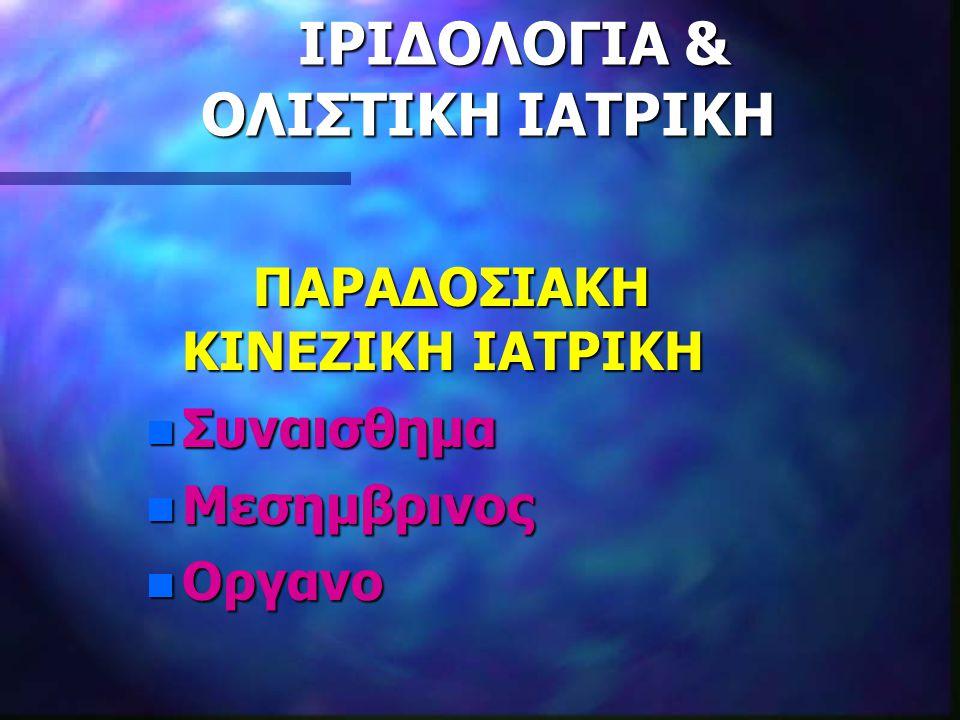 ΙΡΙΔΟΛΟΓΙΑ & ΟΛΙΣΤΙΚΗ ΙΑΤΡΙΚΗ ΙΡΙΔΟΛΟΓΙΑ & ΟΛΙΣΤΙΚΗ ΙΑΤΡΙΚΗ
