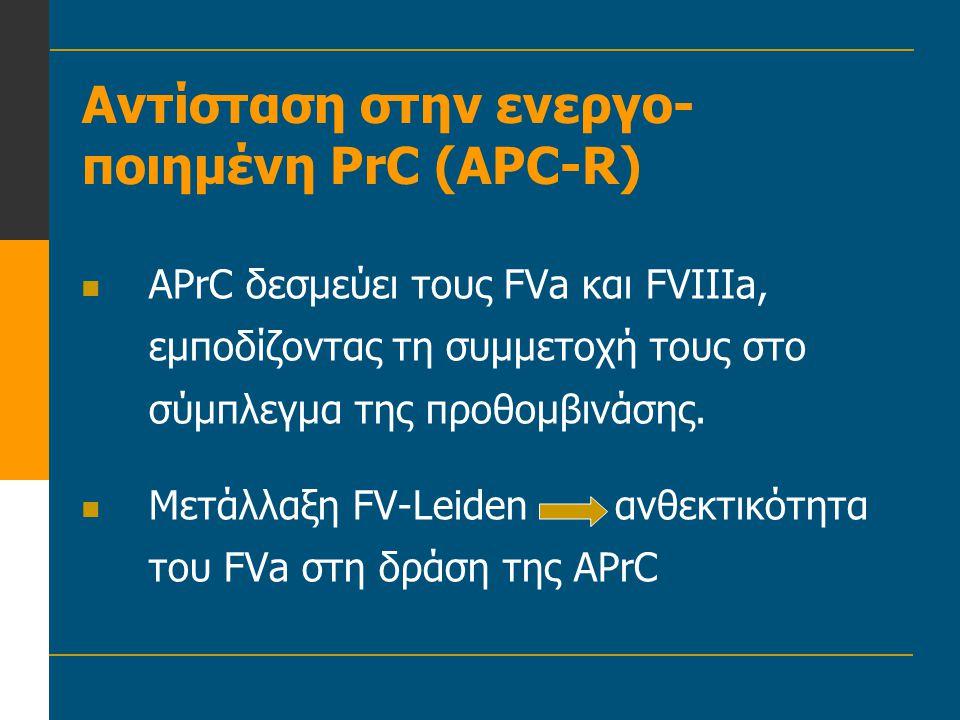 Αντίσταση στην ενεργο- ποιημένη PrC (APC-R)  APrC δεσμεύει τους FVa και FVIIIa, εμποδίζοντας τη συμμετοχή τους στο σύμπλεγμα της προθομβινάσης.  Μετ
