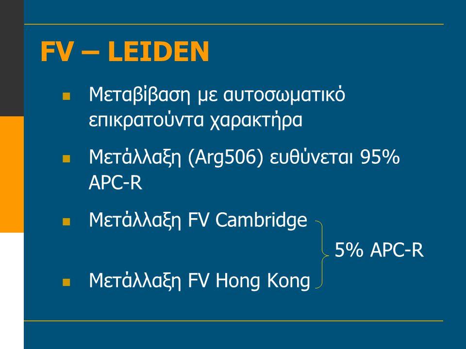FV – LEIDEN  Μεταβίβαση με αυτοσωματικό επικρατούντα χαρακτήρα  Μετάλλαξη (Arg506) ευθύνεται 95% APC-R  Μετάλλαξη FV Cambridge 5% APC-R  Μετάλλαξη