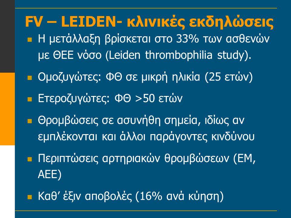 FV – LEIDEN- κλινικές εκδηλώσεις  Η μετάλλαξη βρίσκεται στο 33% των ασθενών με ΘΕΕ νόσο ( Leiden thrombophilia study).  Ομοζυγώτες: ΦΘ σε μικρή ηλικ