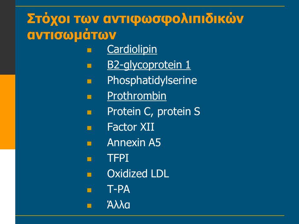 Στόχοι των αντιφωσφολιπιδικών αντισωμάτων  Cardiolipin  B2-glycoprotein 1  Phosphatidylserine  Prothrombin  Protein C, protein S  Factor XII  A