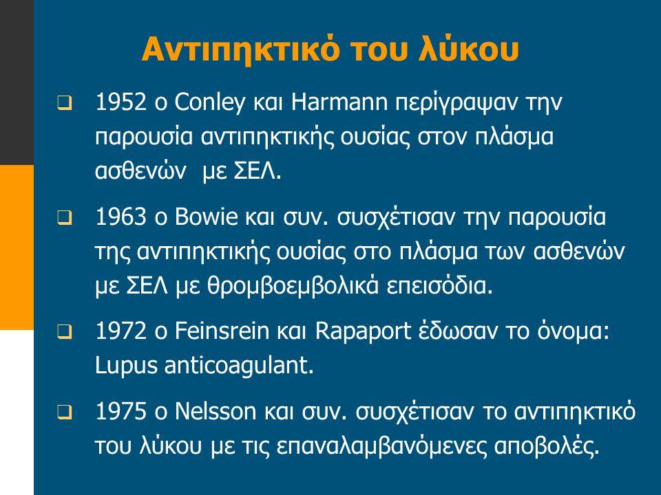 Αντιπηκτικό του λύκου  1952 ο Conley και Harmann περίγραψαν την παρουσία αντιπηκτικής ουσίας στον πλάσμα ασθενών με ΣΕΛ.  1963 ο Bowie και συν. συσχ