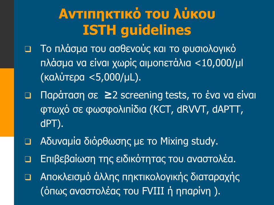  Το πλάσμα του ασθενούς και το φυσιολογικό πλάσμα να είναι χωρίς αιμοπετάλια <10,000/μl (καλύτερα <5,000/μL).  Παράταση σε ≥2 screening tests, το έν