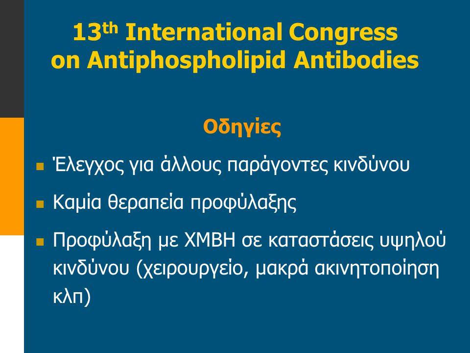 13 th International Congress on Antiphospholipid Antibodies Οδηγίες  Έλεγχος για άλλους παράγοντες κινδύνου  Καμία θεραπεία προφύλαξης  Προφύλαξη μ