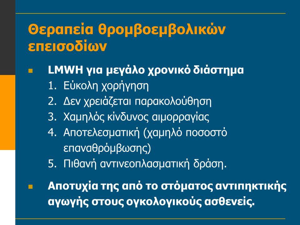 Θεραπεία θρομβοεμβολικών επεισοδίων  LMWH για μεγάλο χρονικό διάστημα 1.Εύκολη χορήγηση 2.Δεν χρειάζεται παρακολούθηση 3.Χαμηλός κίνδυνος αιμορραγίας