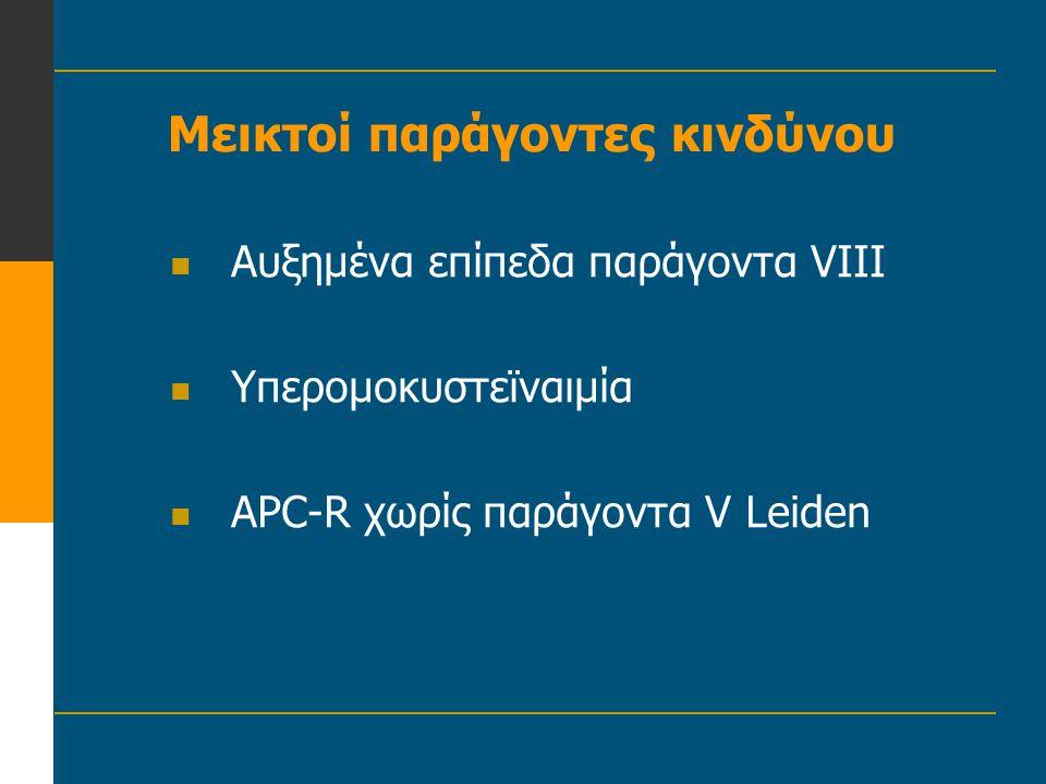 Μυελοϋπερπλαστικά νοσήματα Αληθής πολυκυτταραιμία Ιδιοπαθής θρομβοκυτταραιμία Φλεβικές και αρτηριακές θρομβώσεις 50-80% ασθενών θρόμβωση •Μεγάλες αρτηρίες, εγκεφαλικό, έμφραγμα •Σπανιότερα φλεβική θρόμβωση
