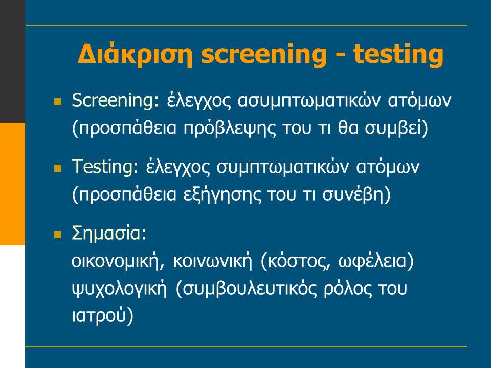 Διάκριση screening - testing  Screening: έλεγχος ασυμπτωματικών ατόμων (προσπάθεια πρόβλεψης του τι θα συμβεί)  Testing: έλεγχος συμπτωματικών ατόμω