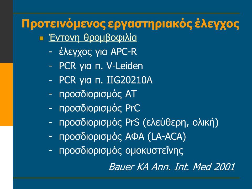 Προτεινόμενος εργαστηριακός έλεγχος  Έντονη θρομβοφιλία -έλεγχος για APC-R -PCR για π. V-Leiden -PCR για π. IIG20210A -προσδιορισμός ΑΤ -προσδιορισμό