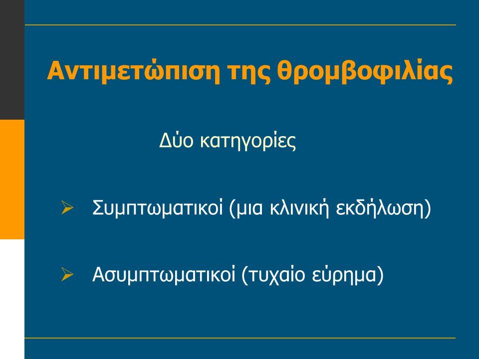 Αντιμετώπιση της θρομβοφιλίας Δύο κατηγορίες  Συμπτωματικοί (μια κλινική εκδήλωση)  Ασυμπτωματικοί (τυχαίο εύρημα)