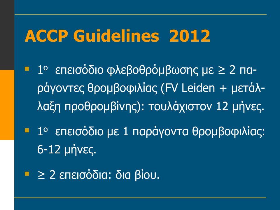 ACCP Guidelines 2012  1 ο επεισόδιο φλεβοθρόμβωσης με ≥ 2 πα- ράγοντες θρομβοφιλίας (FV Leiden + μετάλ- λαξη προθρομβίνης): τουλάχιστον 12 μήνες.  1