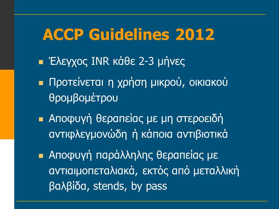ACCP Guidelines 2012  Έλεγχος IΝR κάθε 2-3 μήνες  Προτείνεται η χρήση μικρού, οικιακού θρομβομέτρου  Αποφυγή θεραπείας με μη στεροειδή αντιφλεγμονώ