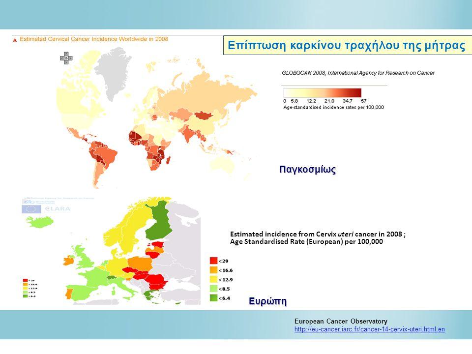 Estimated mortality from Cervix uteri cancer in 2008 ; Age Standardised Rate (European) per 100,000 European Cancer Observatory http://eu-cancer.iarc.fr/cancer-14-cervix-uteri.html,en Θνησιμότητα καρκίνου τραχήλου της μήτρας Παγκοσμίως Ευρώπη
