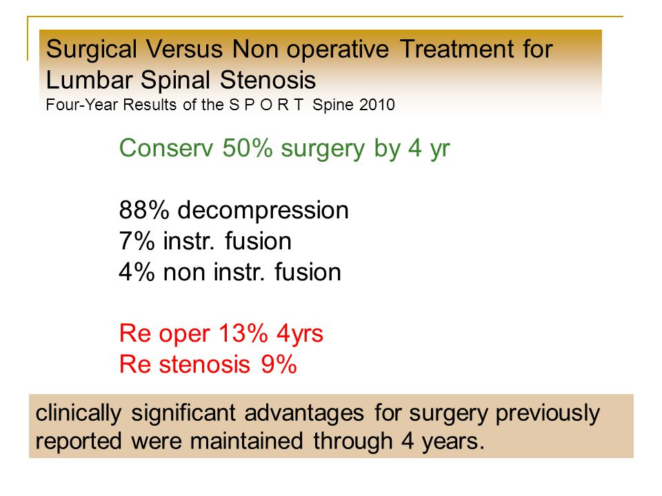 Surgical Versus Non operative Treatment for Lumbar Spinal Stenosis Four-Year Results of the S P O R T Spine 2010 Conserv 50% surgery by 4 yr 88% decompression 7% instr.