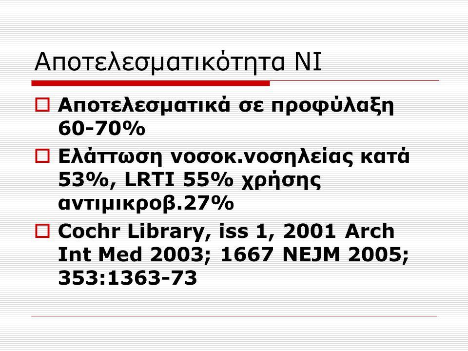 Αποτελεσματικότητα ΝΙ  Αποτελεσματικά σε προφύλαξη 60-70%  Ελάττωση νοσοκ.νοσηλείας κατά 53%, LRTI 55% χρήσης αντιμικροβ.27%  Cochr Library, iss 1,