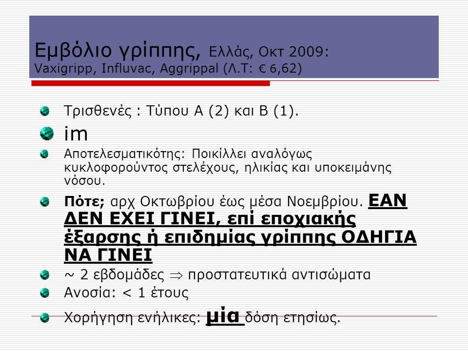 Εμβόλιο γρίππης, Eλλάς, Oκτ 2009: Vaxigripp, Influvac, Aggrippal (Λ.Τ: € 6,62) Τρισθενές : Τύπου Α (2) και Β (1). im Αποτελεσματικότης: Ποικίλλει αναλ