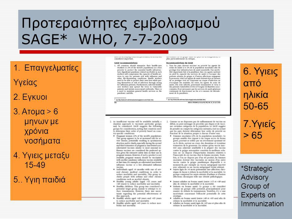 Προτεραιότητες εμβολιασμού SAGE* WHO, 7-7-2009 1.Επαγγελματίες Υγείας 2. Εγκυοι 3. Ατομα > 6 μηνων με χρόνια νοσήματα 4. Υγιεις μεταξυ 15-49 5.. Υγιη
