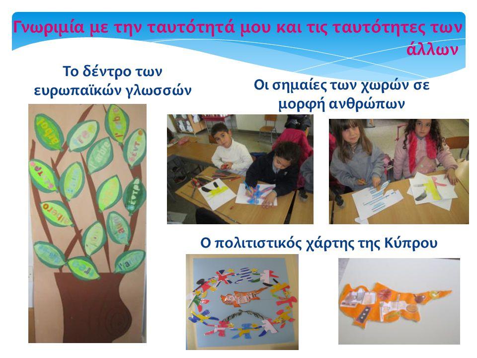 Γνωριμία με την ταυτότητά μου και τις ταυτότητες των άλλων Το δέντρο των ευρωπαϊκών γλωσσών Οι σημαίες των χωρών σε μορφή ανθρώπων Ο πολιτιστικός χάρτ
