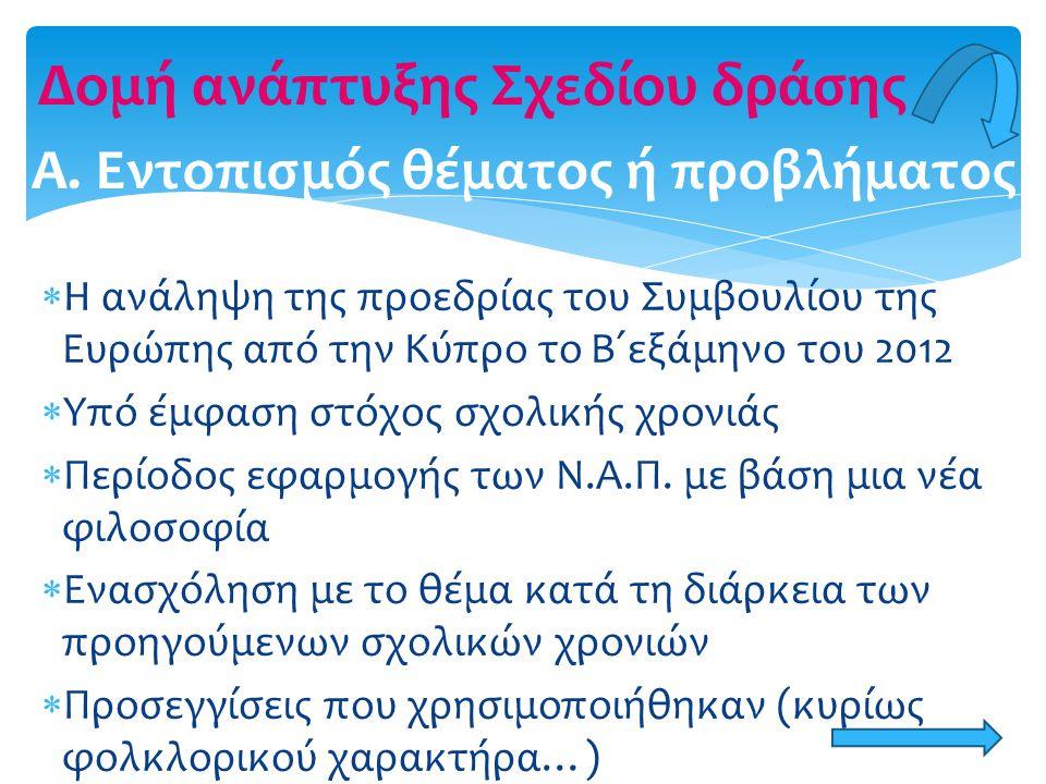  Η ανάληψη της προεδρίας του Συμβουλίου της Ευρώπης από την Κύπρο το Β΄εξάμηνο του 2012  Υπό έμφαση στόχος σχολικής χρονιάς  Περίοδος εφαρμογής των