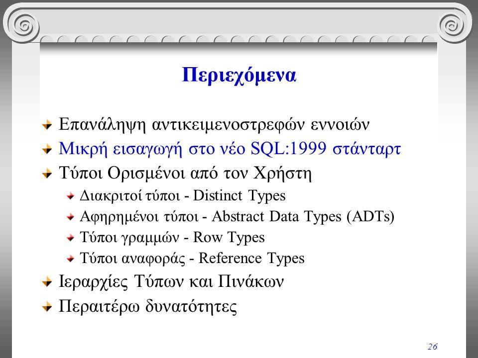 26 Περιεχόμενα Επανάληψη αντικειμενοστρεφών εννοιών Μικρή εισαγωγή στο νέο SQL:1999 στάνταρτ Τύποι Ορισμένοι από τον Χρήστη Διακριτοί τύποι - Distinct Types Αφηρημένοι τύποι - Abstract Data Types (ADTs) Τύποι γραμμών - Row Types Τύποι αναφοράς - Reference Types Ιεραρχίες Τύπων και Πινάκων Περαιτέρω δυνατότητες