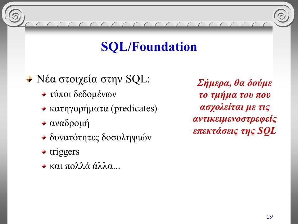 29 SQL/Foundation Νέα στοιχεία στην SQL: τύποι δεδομένων κατηγορήματα (predicates) αναδρομή δυνατότητες δοσοληψιών triggers και πολλά άλλα...