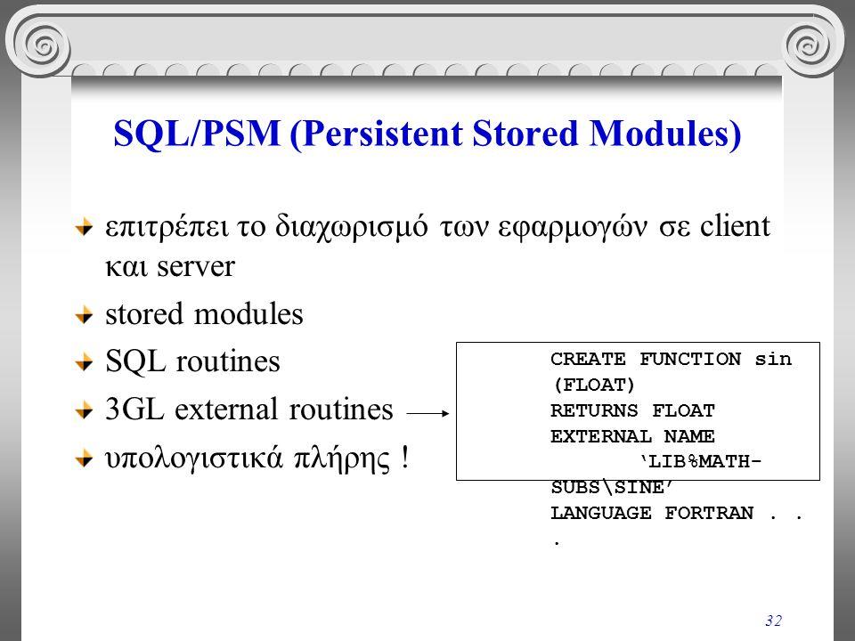 32 SQL/PSM (Persistent Stored Modules) επιτρέπει το διαχωρισμό των εφαρμογών σε client και server stored modules SQL routines 3GL external routines υπολογιστικά πλήρης .