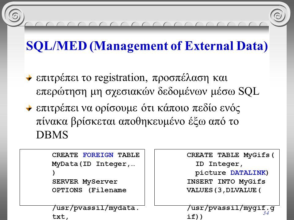 34 SQL/MED (Management of External Data) επιτρέπει το registration, προσπέλαση και επερώτηση μη σχεσιακών δεδομένων μέσω SQL επιτρέπει να ορίσουμε ότι κάποιο πεδίο ενός πίνακα βρίσκεται αποθηκευμένο έξω από το DBMS CREATE FOREIGN TABLE MyData(ID Integer,… ) SERVER MyServer OPTIONS (Filename /usr/pvassil/mydata.