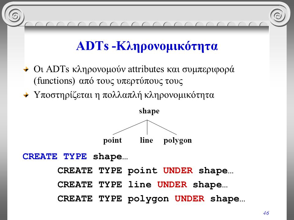 46 ADTs -Κληρονομικότητα Οι ADTs κληρονομούν attributes και συμπεριφορά (functions) από τους υπερτύπους τους Υποστηρίζεται η πολλαπλή κληρονομικότητα CREATE TYPE shape… CREATE TYPE point UNDER shape… CREATE TYPE line UNDER shape… CREATE TYPE polygon UNDER shape… linepolygon shape point