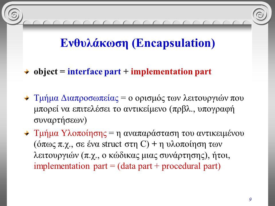 9 Ενθυλάκωση (Encapsulation) object = interface part + implementation part Τμήμα Διαπροσωπείας = ο ορισμός των λειτουργιών που μπορεί να επιτελέσει το αντικείμενο (πρβλ., υπογραφή συναρτήσεων) Τμήμα Υλοποίησης = η αναπαράσταση του αντικειμένου (όπως π.χ., σε ένα struct στη C) + η υλοποίηση των λειτουργιών (π.χ., ο κώδικας μιας συνάρτησης), ήτοι, implementation part = (data part + procedural part)