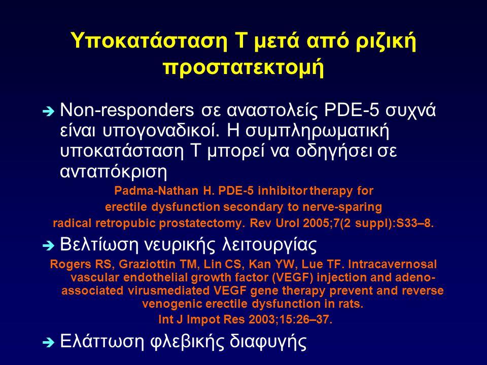 Υποκατάσταση Τ μετά από ριζική προστατεκτομή  Non-responders σε αναστολείς PDE-5 συχνά είναι υπογοναδικοί. Η συμπληρωματική υποκατάσταση Τ μπορεί να