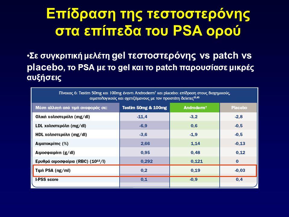 •Σε συγκριτική μελέτη gel τεστοστερόνης vs patch vs placebo, το PSA με το gel και το patch παρουσίασε μικρές αυξήσεις Επίδραση της τεστοστερόνης στα ε