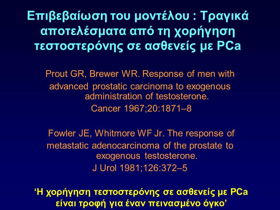 Επιβεβαίωση του μοντέλου : Τραγικά αποτελέσματα από τη χορήγηση τεστοστερόνης σε ασθενείς με PCa Prout GR, Brewer WR. Response of men with advanced pr
