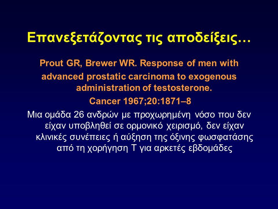 Επανεξετάζοντας τις αποδείξεις… Prout GR, Brewer WR. Response of men with advanced prostatic carcinoma to exogenous administration of testosterone. Ca