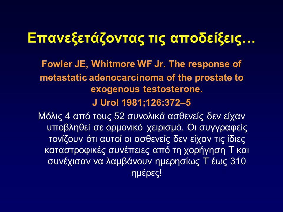 Επανεξετάζοντας τις αποδείξεις… Fowler JE, Whitmore WF Jr. The response of metastatic adenocarcinoma of the prostate to exogenous testosterone. J Urol