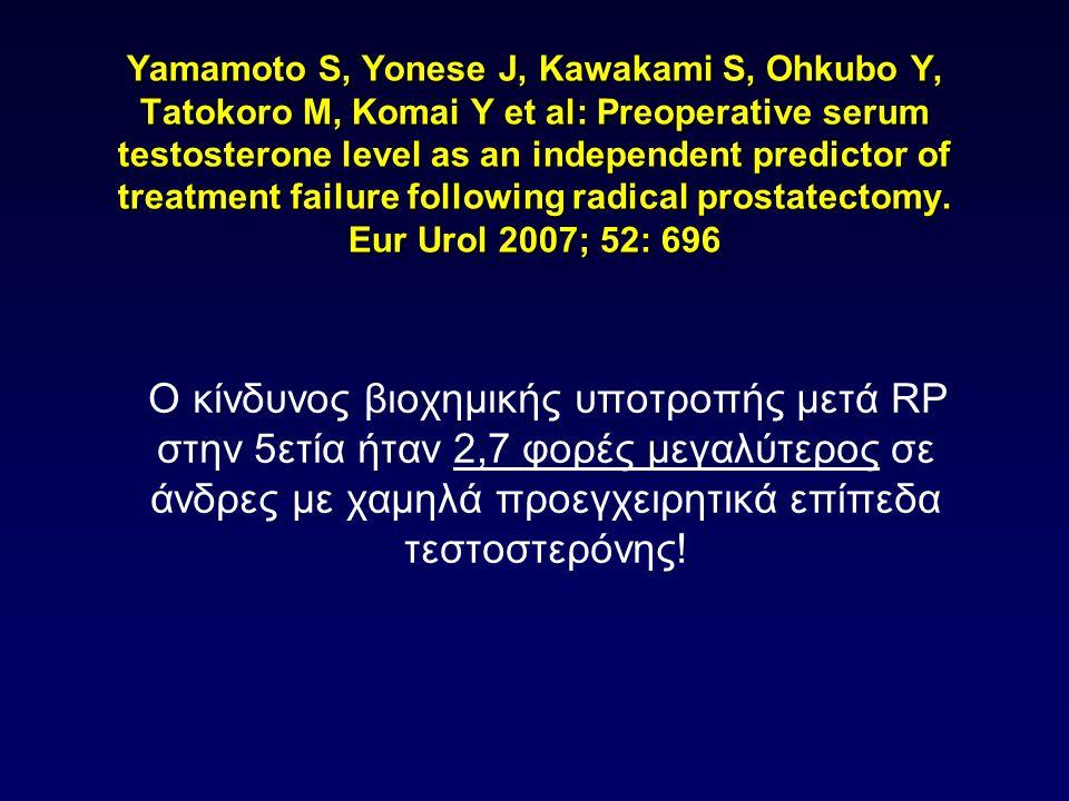 Yamamoto S, Yonese J, Kawakami S, Ohkubo Y, Tatokoro M, Komai Y et al: Preoperative serum testosterone level as an independent predictor of treatment