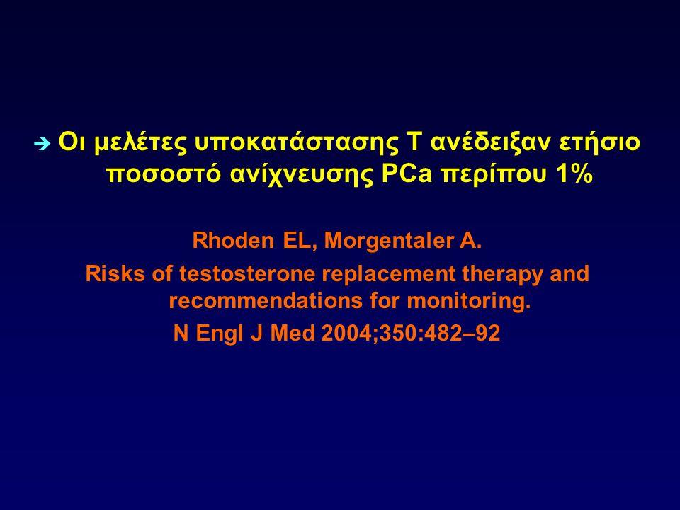  Οι μελέτες υποκατάστασης Τ ανέδειξαν ετήσιο ποσοστό ανίχνευσης PCa περίπου 1% Rhoden EL, Morgentaler A. Risks of testosterone replacement therapy an