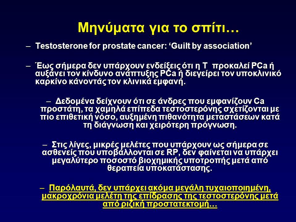 –Testosterone for prostate cancer: 'Guilt by association' –Έως σήμερα δεν υπάρχουν ενδείξεις ότι η T προκαλεί PCa ή αυξάνει τον κίνδυνο ανάπτυξης PCa