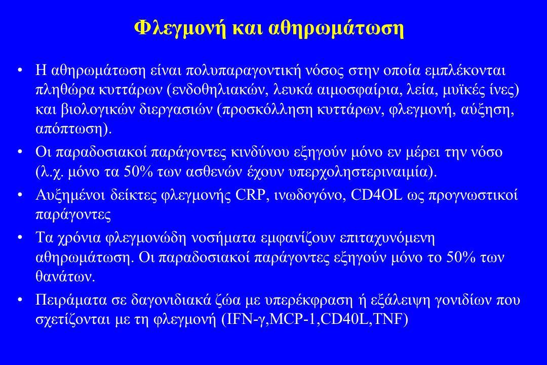 Φλεγμονή και αθηρωμάτωση •H αθηρωμάτωση είναι πολυπαραγοντική νόσος στην οποία εμπλέκονται πληθώρα κυττάρων (ενδοθηλιακών, λευκά αιμοσφαίρια, λεία, μυ
