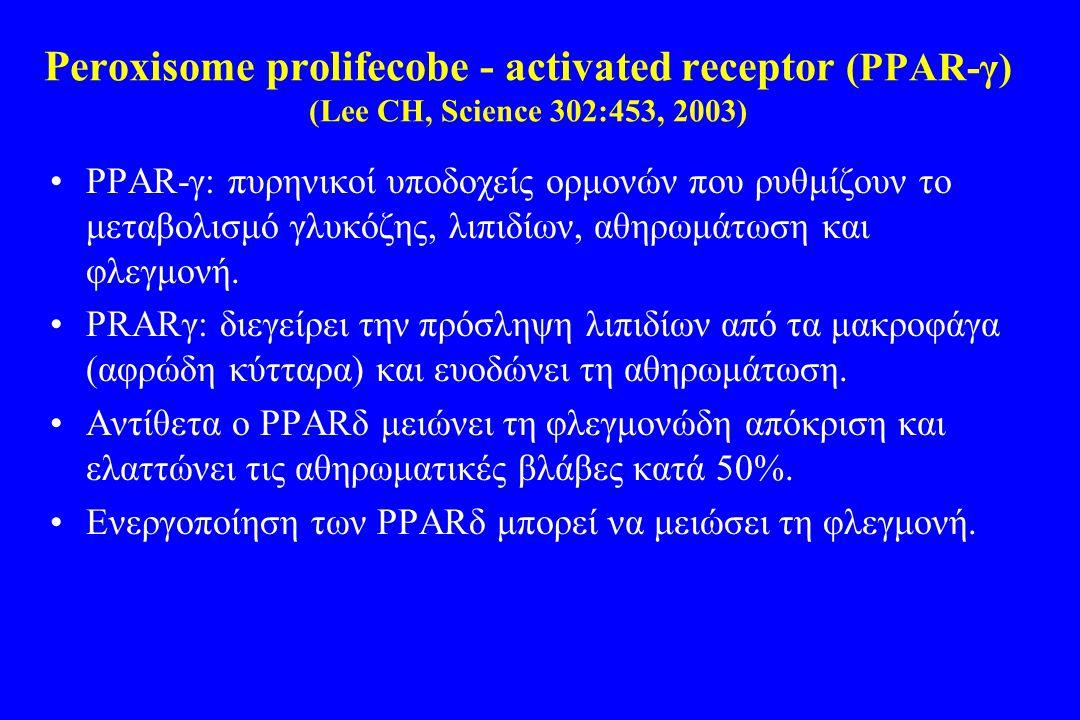 Peroxisome prolifecobe - activated receptor (PΡAR-γ) (Lee CH, Science 302:453, 2003) •PΡAR-γ: πυρηνικοί υποδοχείς ορμονών που ρυθμίζουν το μεταβολισμό