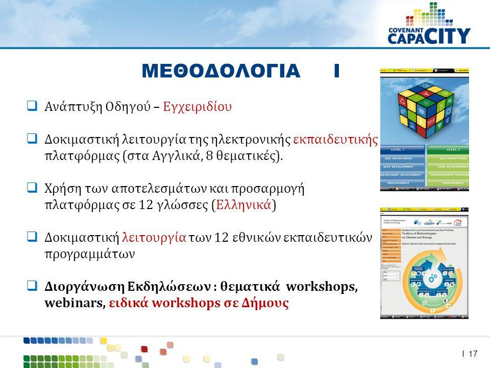 I 17  Ανάπτυξη Οδηγού – Εγχειριδίου  Δοκιμαστική λειτουργία της ηλεκτρονικής εκπαιδευτικής πλατφόρμας (στα Αγγλικά, 8 θεματικές).