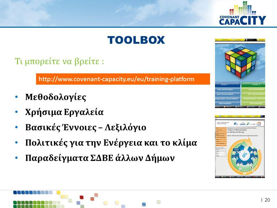 I 20 Τι μπορείτε να βρείτε : • Μεθοδολογίες • Χρήσιμα Εργαλεία • Βασικές Έννοιες – Λεξιλόγιο • Πολιτικές για την Ενέργεια και το κλίμα • Παραδείγματα ΣΔΒΕ άλλων Δήμων TOOLBOX http://www.covenant-capacity.eu/eu/training-platform