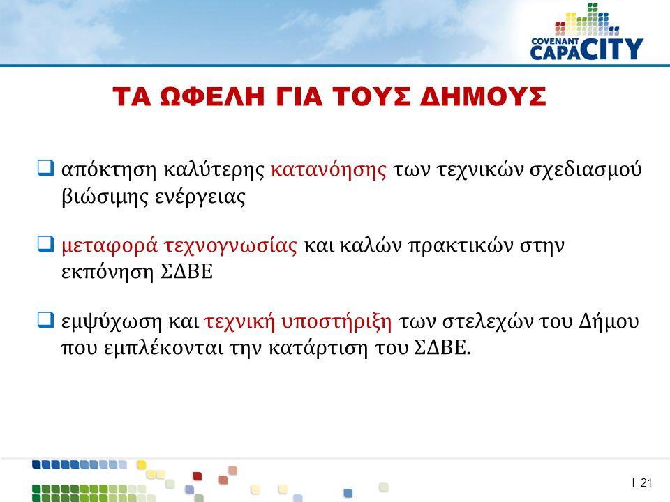 I 21  απόκτηση καλύτερης κατανόησης των τεχνικών σχεδιασμού βιώσιμης ενέργειας  μεταφορά τεχνογνωσίας και καλών πρακτικών στην εκπόνηση ΣΔΒΕ  εμψύχωση και τεχνική υποστήριξη των στελεχών του Δήμου που εμπλέκονται την κατάρτιση του ΣΔΒΕ.