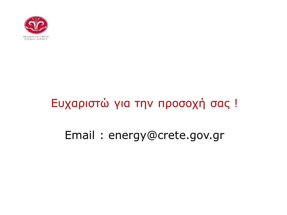 Ευχαριστώ για την προσοχή σας ! Email : energy@crete.gov.gr