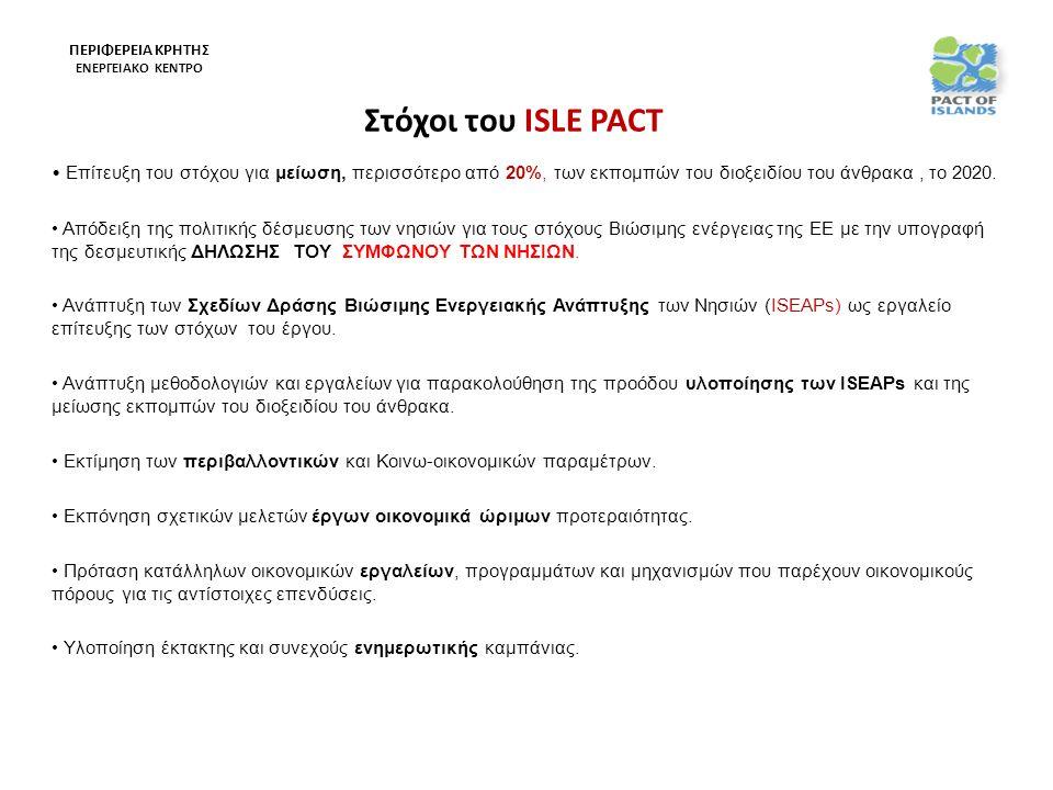 Στόχοι του ISLE PACT • Επίτευξη του στόχου για μείωση, περισσότερο από 20%, των εκπομπών του διοξειδίου του άνθρακα, το 2020.