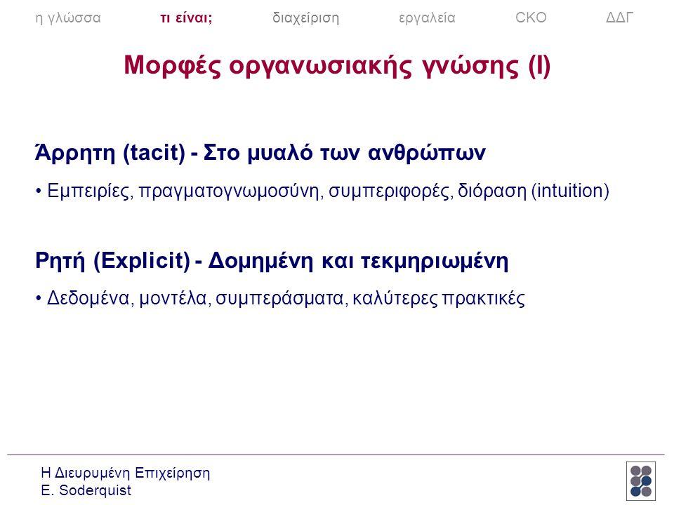 Η Διευρυμένη Επιχείρηση E. Soderquist Άρρητη (tacit) - Στο μυαλό των ανθρώπων •Εμπειρίες, πραγματογνωμοσύνη, συμπεριφορές, διόραση (intuition) Ρητή (E