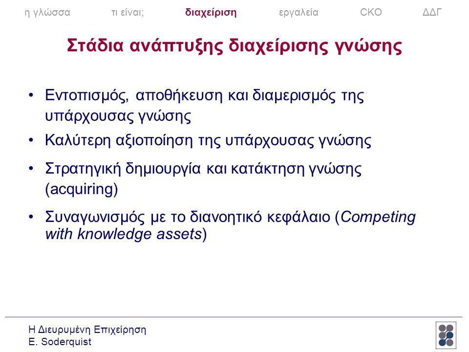 Η Διευρυμένη Επιχείρηση E. Soderquist Στάδια ανάπτυξης διαχείρισης γνώσης •Εντοπισμός, αποθήκευση και διαμερισμός της υπάρχουσας γνώσης •Καλύτερη αξιο