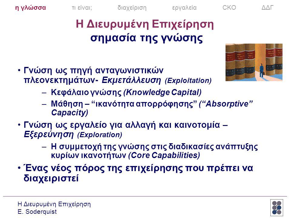 Η Διευρυμένη Επιχείρηση E. Soderquist Η Διευρυμένη Επιχείρηση σημασία της γνώσης •Γνώση ως πηγή ανταγωνιστικών πλεονεκτημάτων- Εκμετάλλευση (Exploitat