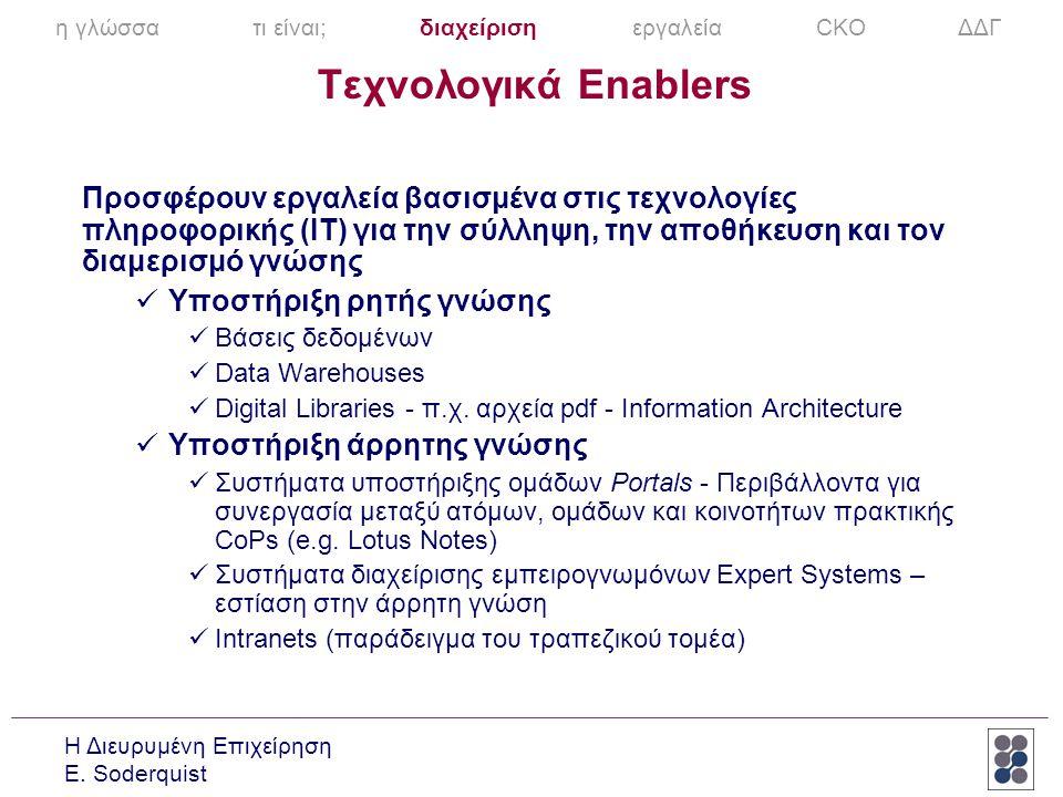 Η Διευρυμένη Επιχείρηση E. Soderquist Τεχνολογικά Enablers Προσφέρουν εργαλεία βασισμένα στις τεχνολογίες πληροφορικής (IT) για την σύλληψη, την αποθή