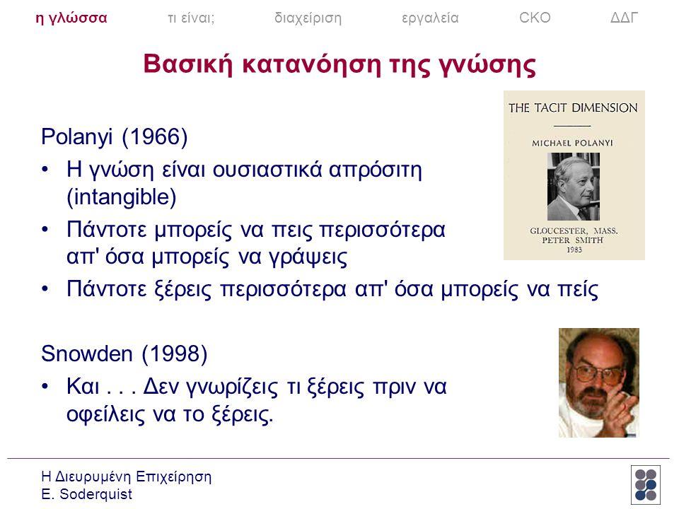 Η Διευρυμένη Επιχείρηση E. Soderquist Βασική κατανόηση της γνώσης Polanyi (1966) •Η γνώση είναι ουσιαστικά απρόσιτη (intangible) •Πάντοτε μπορείς να π